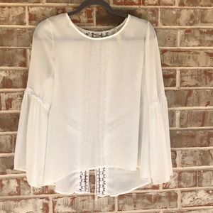 Sz S white Bell Sleeve Lace Dressy Blouse